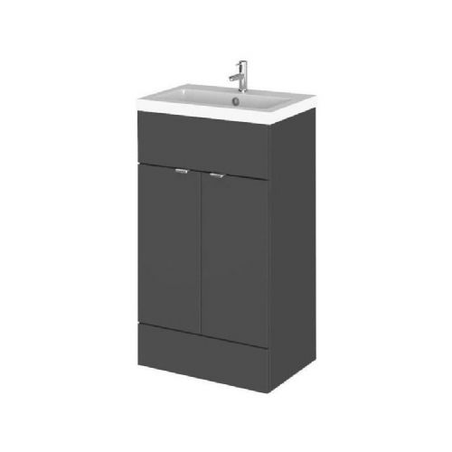 Elite Grey Gloss 500mm Vanity Unit & Basin (355mm Deep)